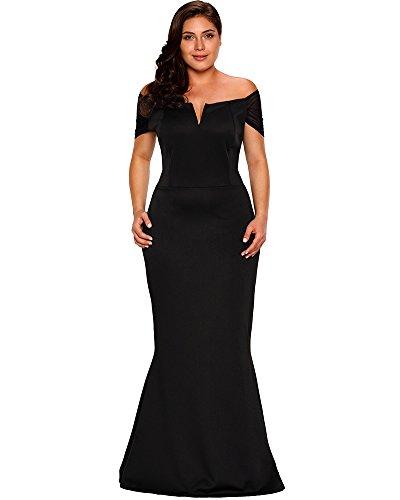 Lalagen Women's Plus Size Off Shoulder Long Formal Party Dress .