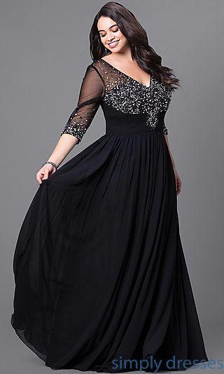 Formal Plus-Size Floor-Length V-Neck Dress   Plus size evening .