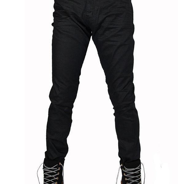 Mens premium Black Waxed Coated Skinny Jeans Pants Medium Rise .