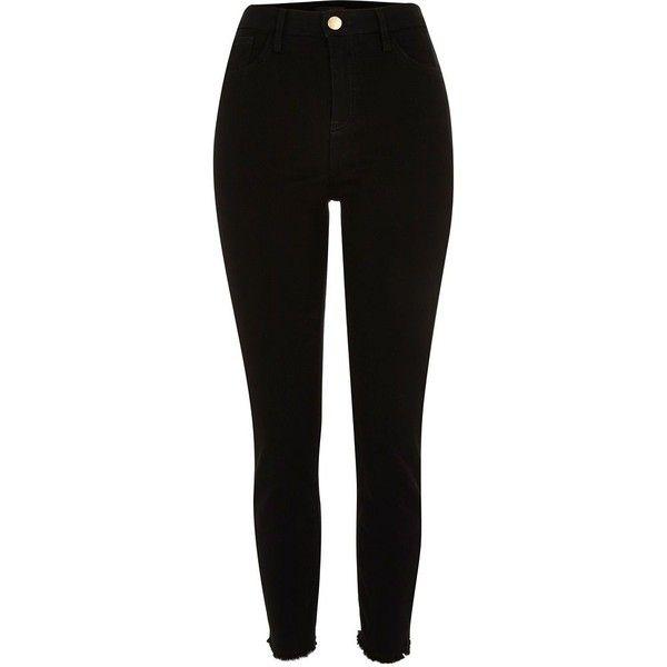 Black high waisted Lori skinny jeans ($49) ❤ liked on Polyvore .