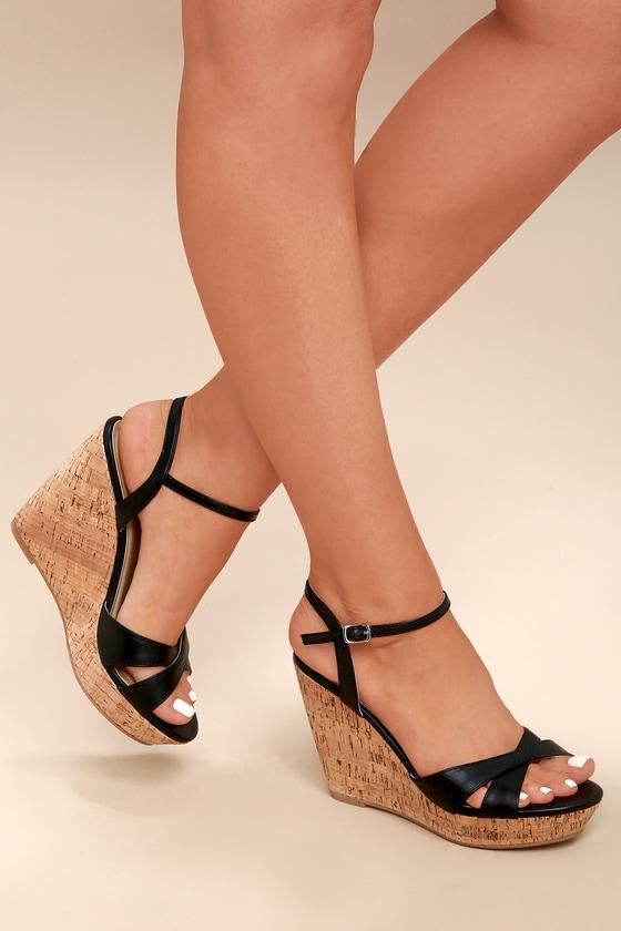 Cute Black Sandals - Wedge Sandals - Cork Sanda