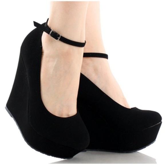 Delicacy Shoes | Suede Black Ankle Strap Platform Wedge Heel .