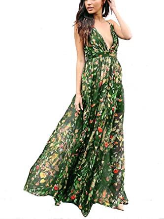 Spriflora Women's Floral Boho Maxi Dress Sexy Spaghetti Strap Deep .