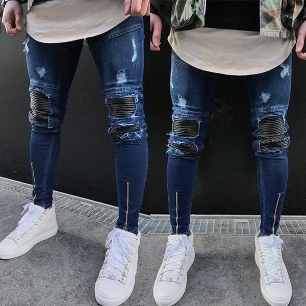 Mens Ripped Slimfit Skinny Jeans Stretch Denim Distress Frayed .