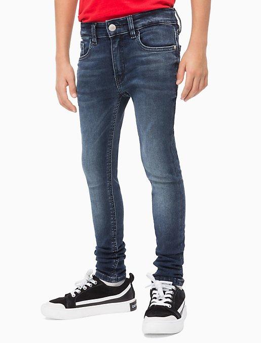 Boys Skinny Fit Dark Blue Jeans | Calvin Kle