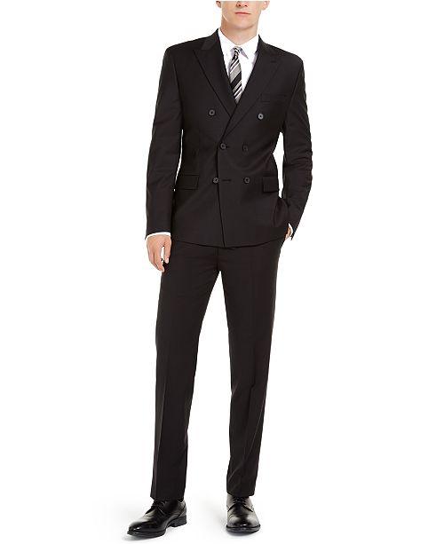 Calvin Klein Men's Slim-Fit Infinite Stretch Black Double-Breasted .