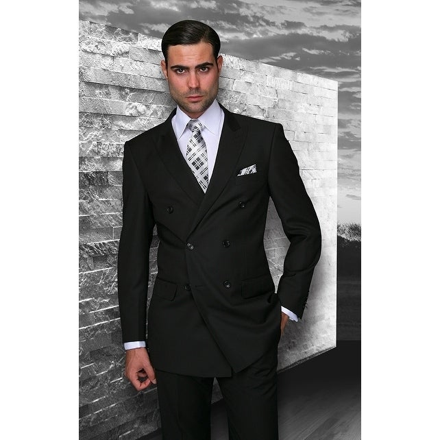 Shop Statement TZD-100 Black Double Breasted Suit - On Sale .