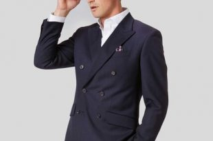 Twill Business Double Breasted Suit Jacket - Navy | Charles Tyrwhi