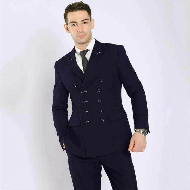 TOTURN 2018 Fashion Men Suits Black Navy Blue Double Breasted Suit .