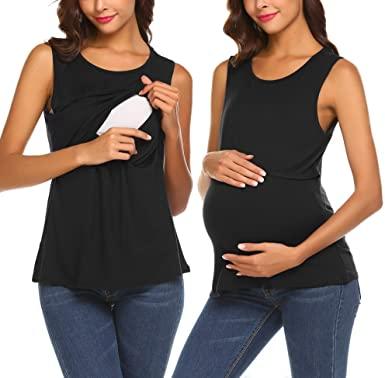 Ekouaer Women's Nursing Tank Top Maternity Breastfeeding Clothes .