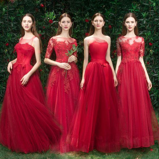 Elegant Red Bridesmaid Dresses 2019 A-Line / Princess Appliques .