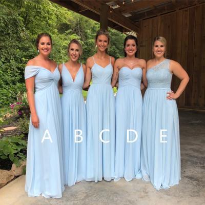 Blue Chiffon Bridesmaid Dresses, Lace Cheap Long Bridesmaid .