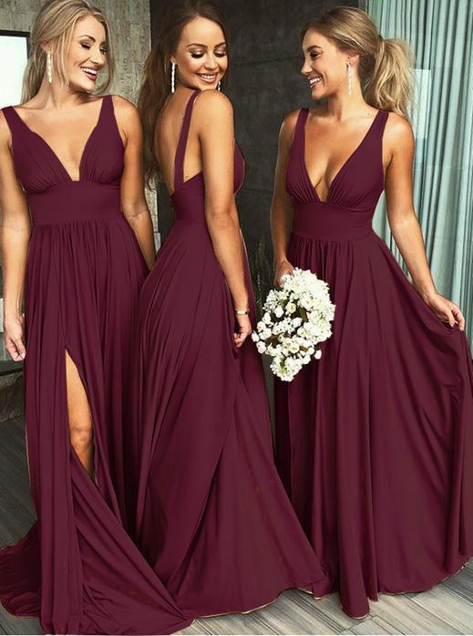 Deep V-neck Long Backless Maroon Bridesmaid Dresses with Split,43 .