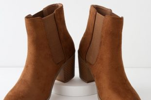 Cute Tan Bootie - Tan Ankle Boot - Vegan Suede Ankle Boo