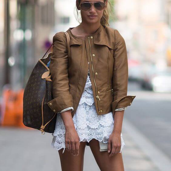 How to Style Brown Leather Jacket for Women - FMag.c