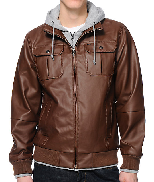 Obey Rapture Brown Faux Leather Hooded Jacket | Zumi
