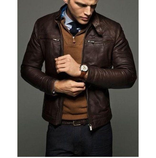 Mens Slim Fit Leather Jackets, Men Brown Leather | RebelsMark