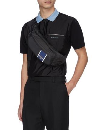 PRADA | Stripe leather panel nylon bum bag | Men | Lane Crawfo