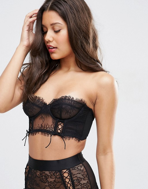 ASOS FAYE Satin & Lace Up Underwire Bustier Bra   AS