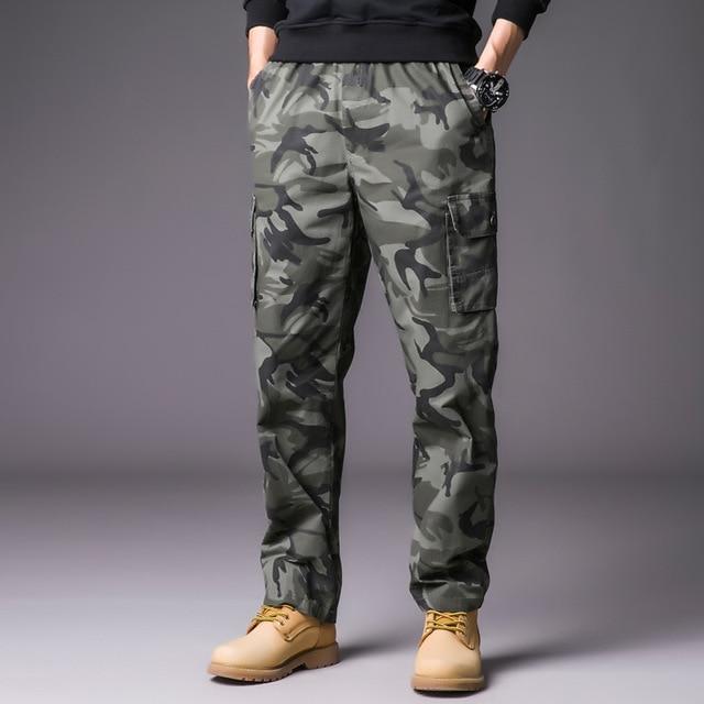 Mens Cargo Pants with Many Pockets Military Streetwear Camo Pants .