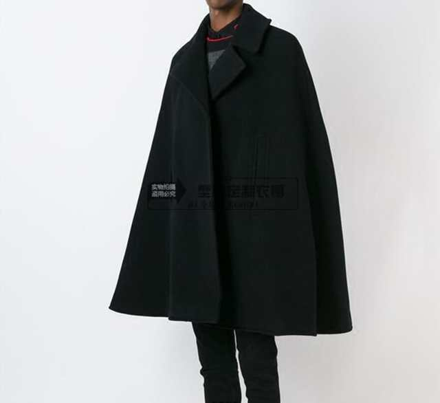 Customize style New fashion Men cape coat loose long woollen .