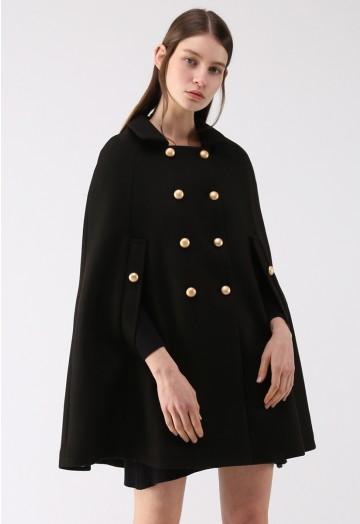 Keep It Elegant Double-Breasted Cape Coat in Black - Retro, Indie .