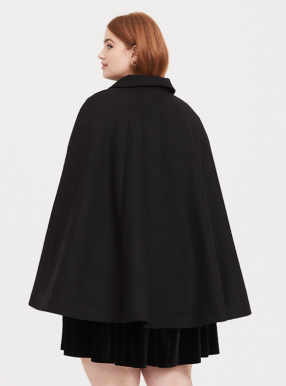 Plus Size - Harry Potter Always Embroidered Black Woolen Cape Coat .