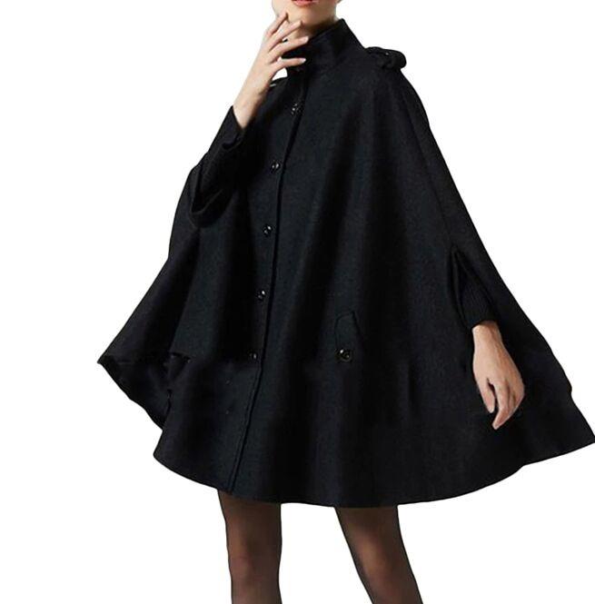 Gothic Women Black Wool Cape Coat | RebelsMark