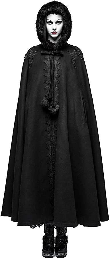 Punk Rave Women Black Gothic Fur Collar Winter Long Cape Coat .