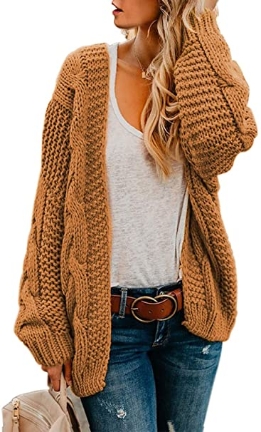 Astylish Women Open Front Long Sleeve Chunky Knit Cardigan .