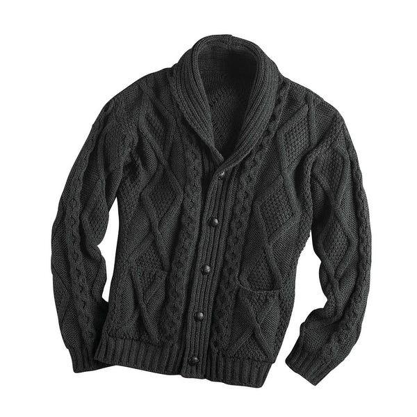 Shop Men's Aran Shawl Collar Cable Knit Cardigan Sweater - On Sale .