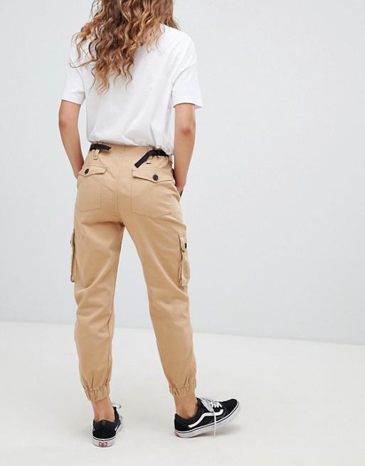 Bershka utility cargo trousers in beige   AS