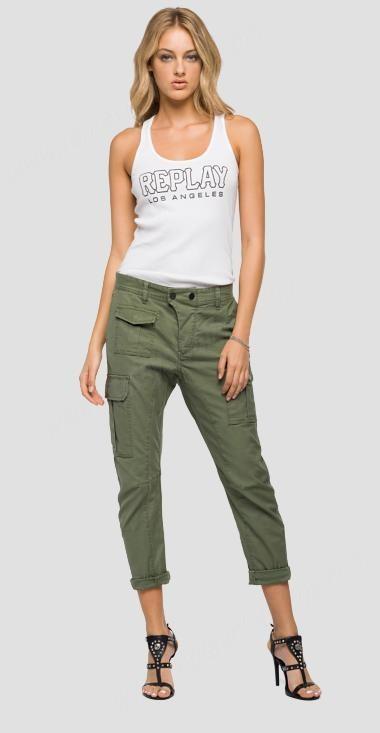 Replay Blackboard Satin Cargo Trousers Pants Womens - Replay Sale .