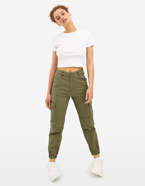 Khaki High Waist Cargo Trousers   TALLY WEiJL Online Sh