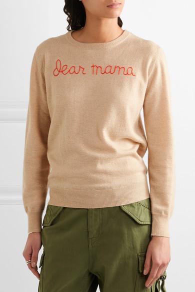 Lingua Franca   Dear Mama embroidered cashmere sweater   NET-A .