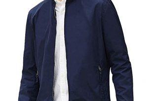 Beverry Collarless Men's Jacket Lightweight Casual Coats Zip Up .
