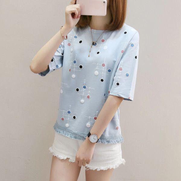 Summer Womens Casual Tops Polka Dot Tassel Short Sleeve T-Shirts .