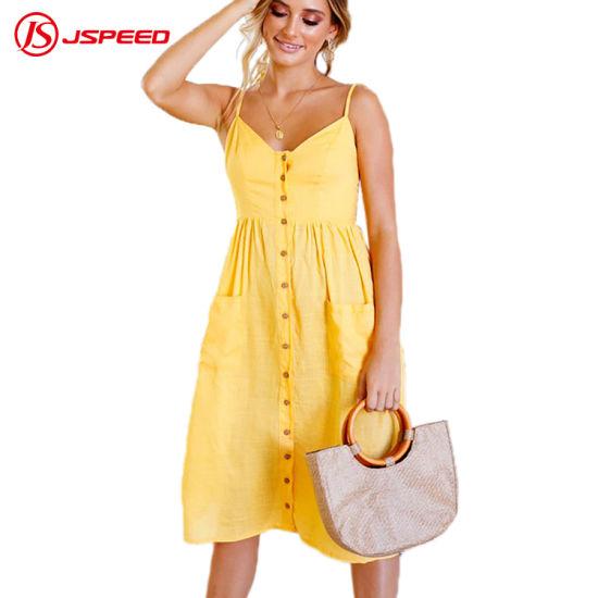 Female Summer Strap Sundress Cotton MIDI Tunic Yellow Boho Beach .