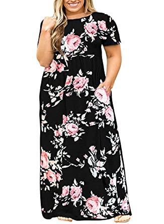 Amazon.com: Womens Plus Size Maxi Dresses Short Sleeve Causal .