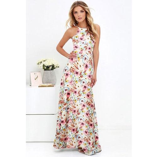 Anself Vintage Floral Print Summer Long Maxi Dress Off Shoulder .