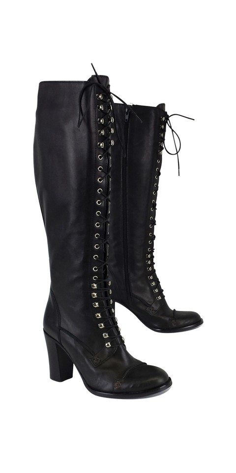 Charles David Black Leather Regiment Lace Up Boots/Booties Size US .