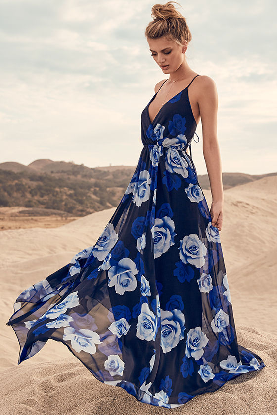Only in Dreams Navy Blue Floral Print Maxi Dress | Floral print .
