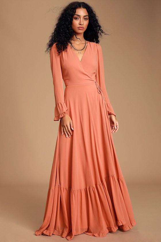 Pretty Rusty Rose Maxi Dress - Wrap Dress - Tiered Maxi Dre