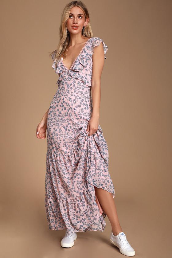 Cute Blue and Pink Maxi Dress - Floral Print Maxi - Chiffon Ma