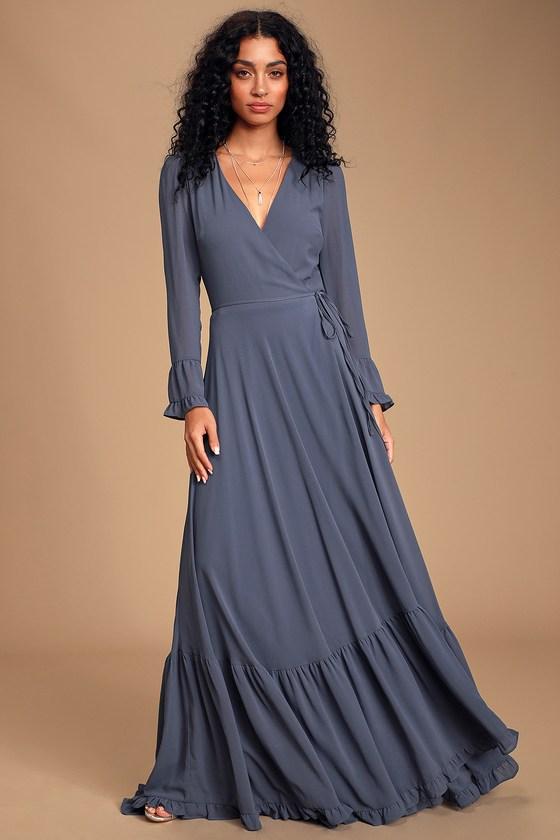 Pretty Slate Blue Maxi Dress - Wrap Dress - Tiered Maxi Dre