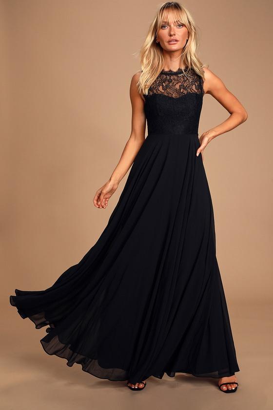 Lovely Lace Dress - Black Maxi Dress - Prom Dress - Go