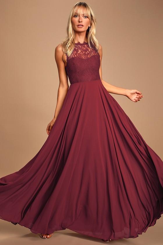 Lovely Lace Dress - Burgundy Maxi Dress - Prom Dress - Go