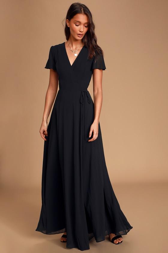 Lovely Black Dress - Maxi Dress - Wrap Dress - Formal Dre