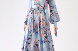 Floral Endearment Chiffon Maxi Dress in Blue - Retro, Indie and .