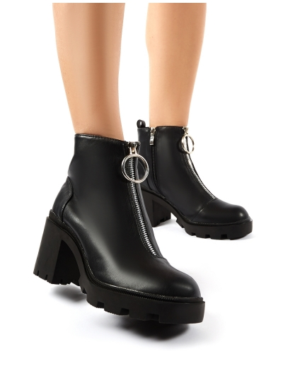 Gospel Black PU Zip Up Chunky Heeled Ankle Boots | Public Desire .